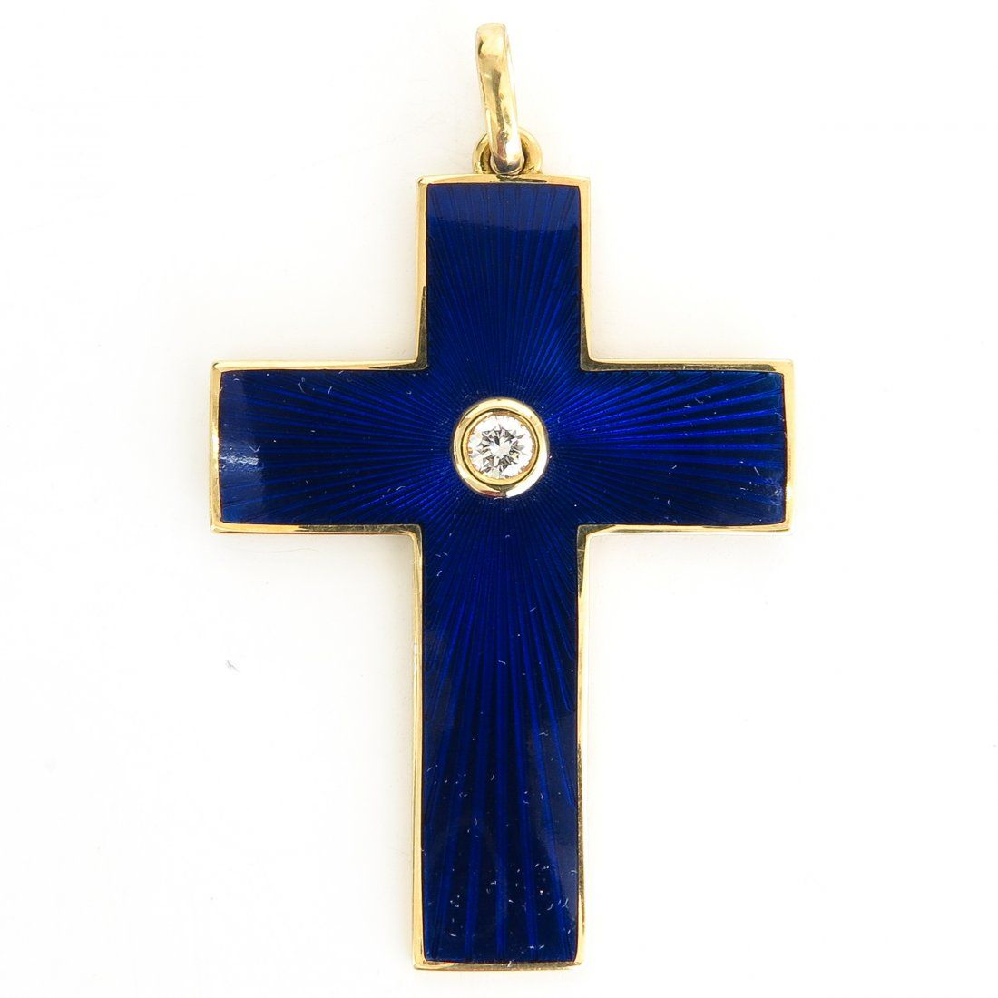 Beautiful 18KG Faberge Diamond Cross Pendant