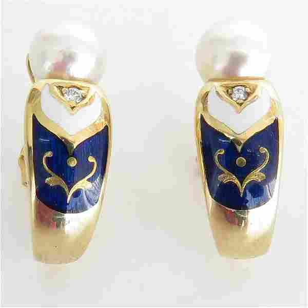 Beautiful 18KG Faberge Earrings by Victor Mayer