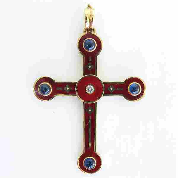 18KG Faberge Cross Pendant Designed by Victor Mayer