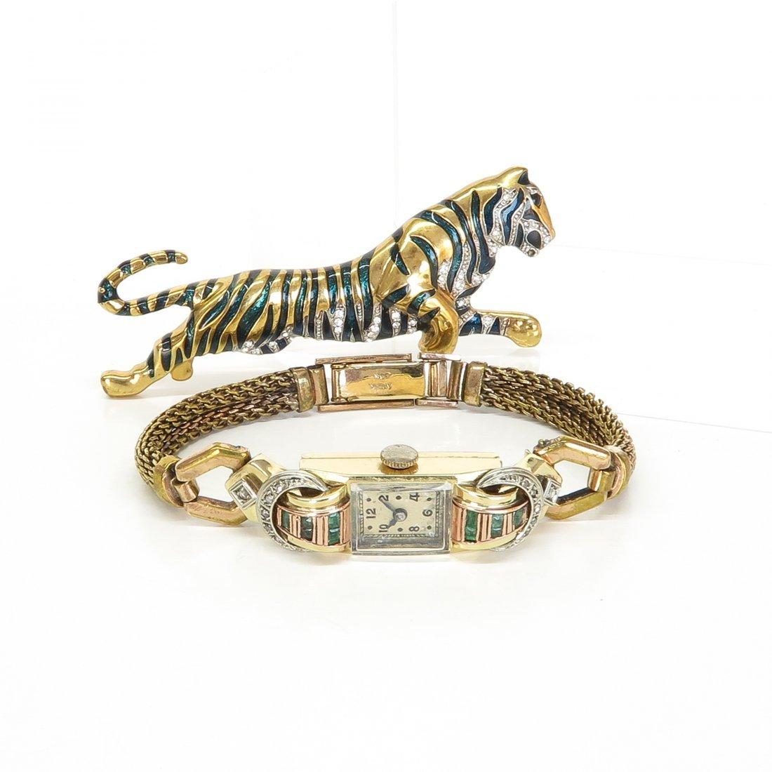 Ladies 14KG Art Deco Diamond and Emerald Watch