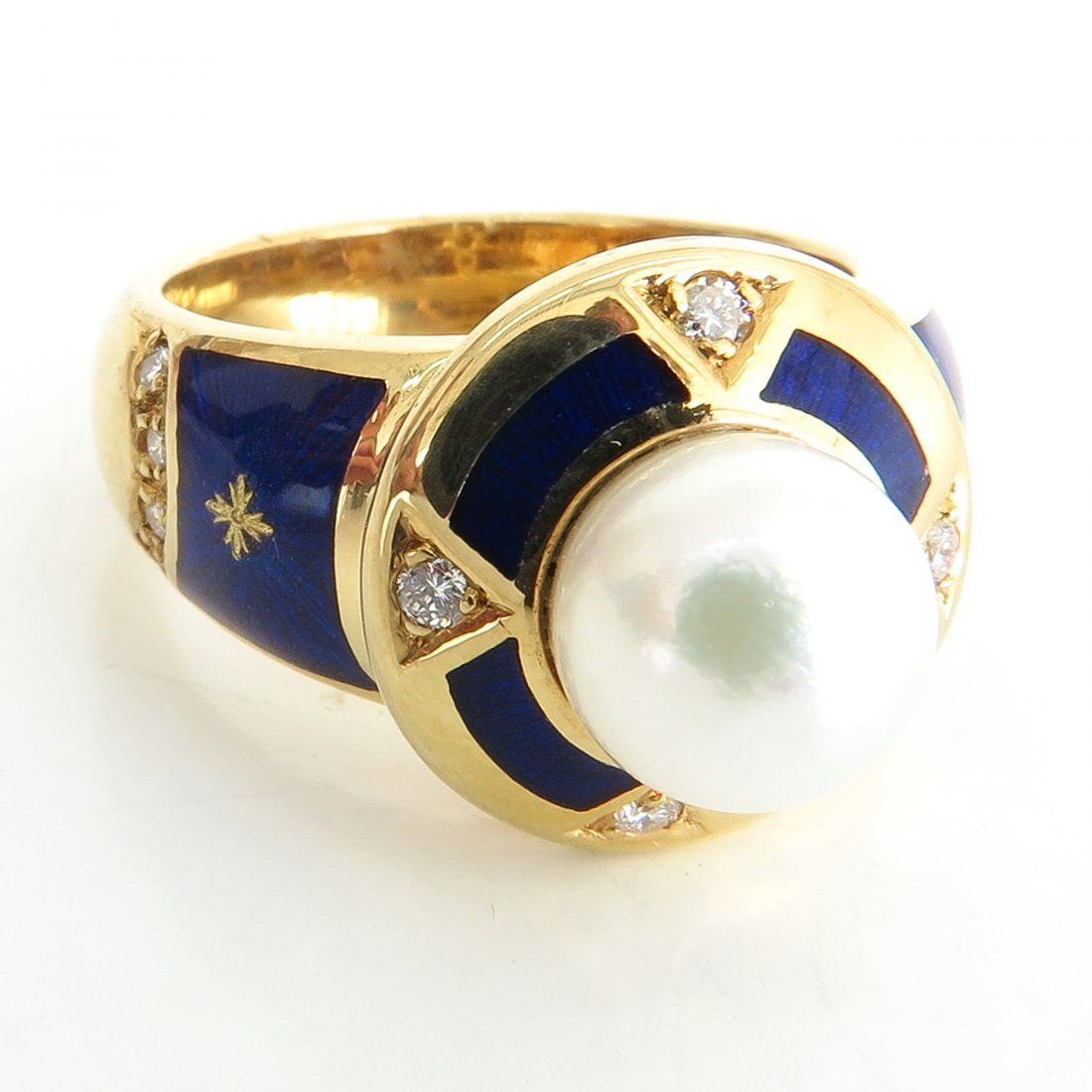 Faberge 18KG Pearl and Diamond Ring By Victor Mayer