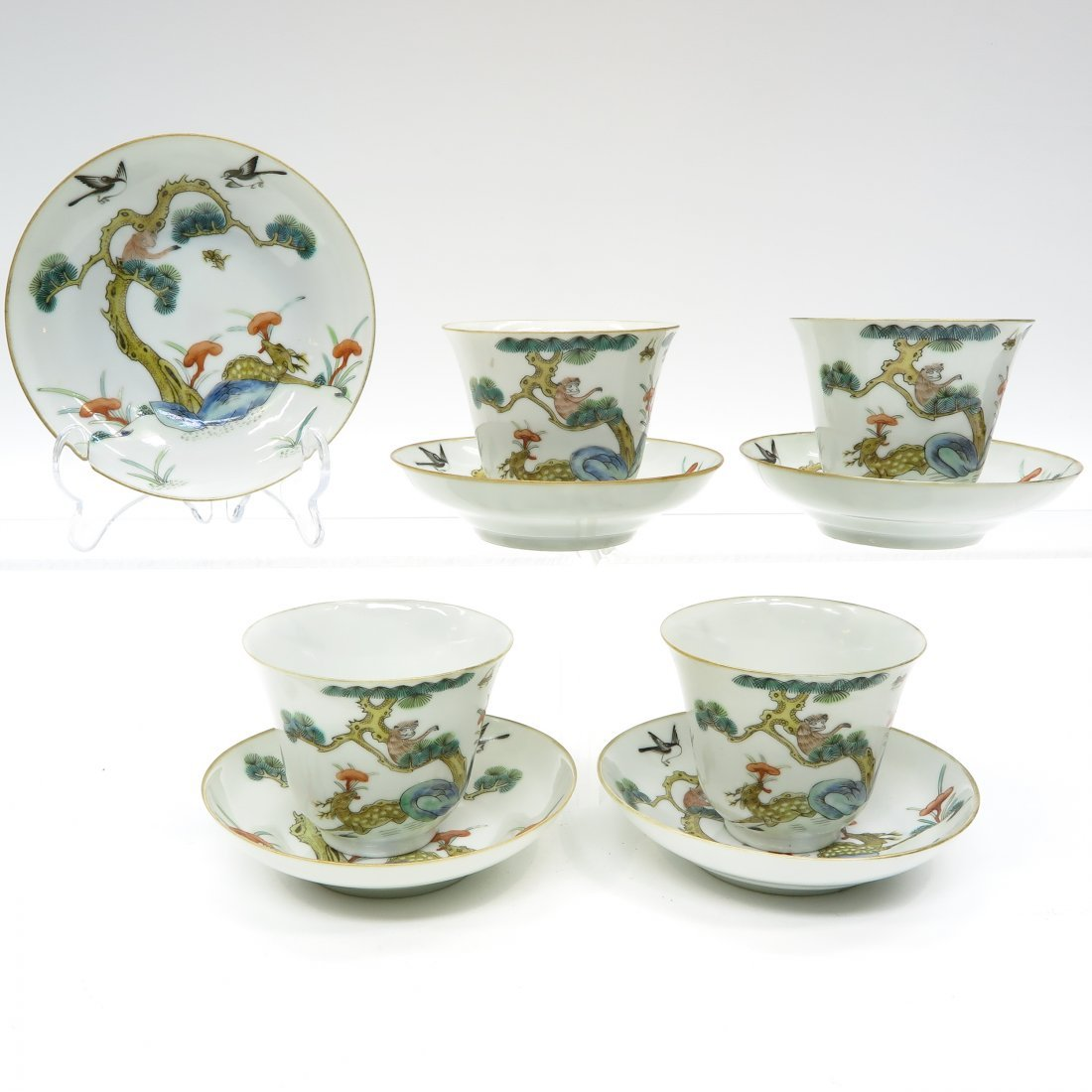 19th Century China Porcelain Cups and Saucers