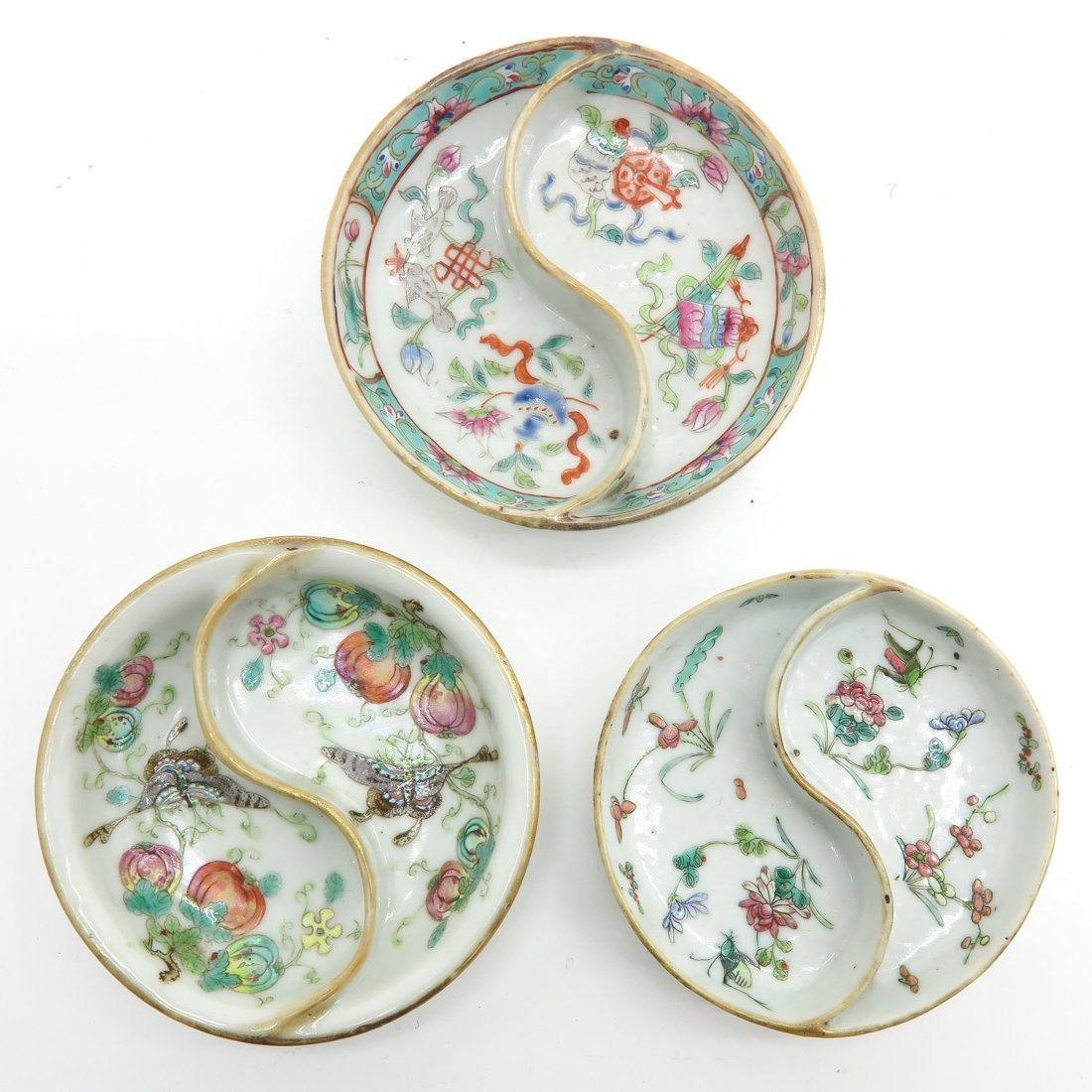 Lot of 3 China Porcelain Soy Trays