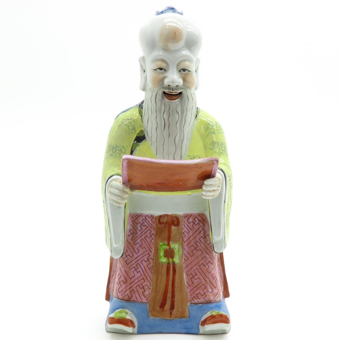 China Porcelain Sculpture Depicting Philosopher