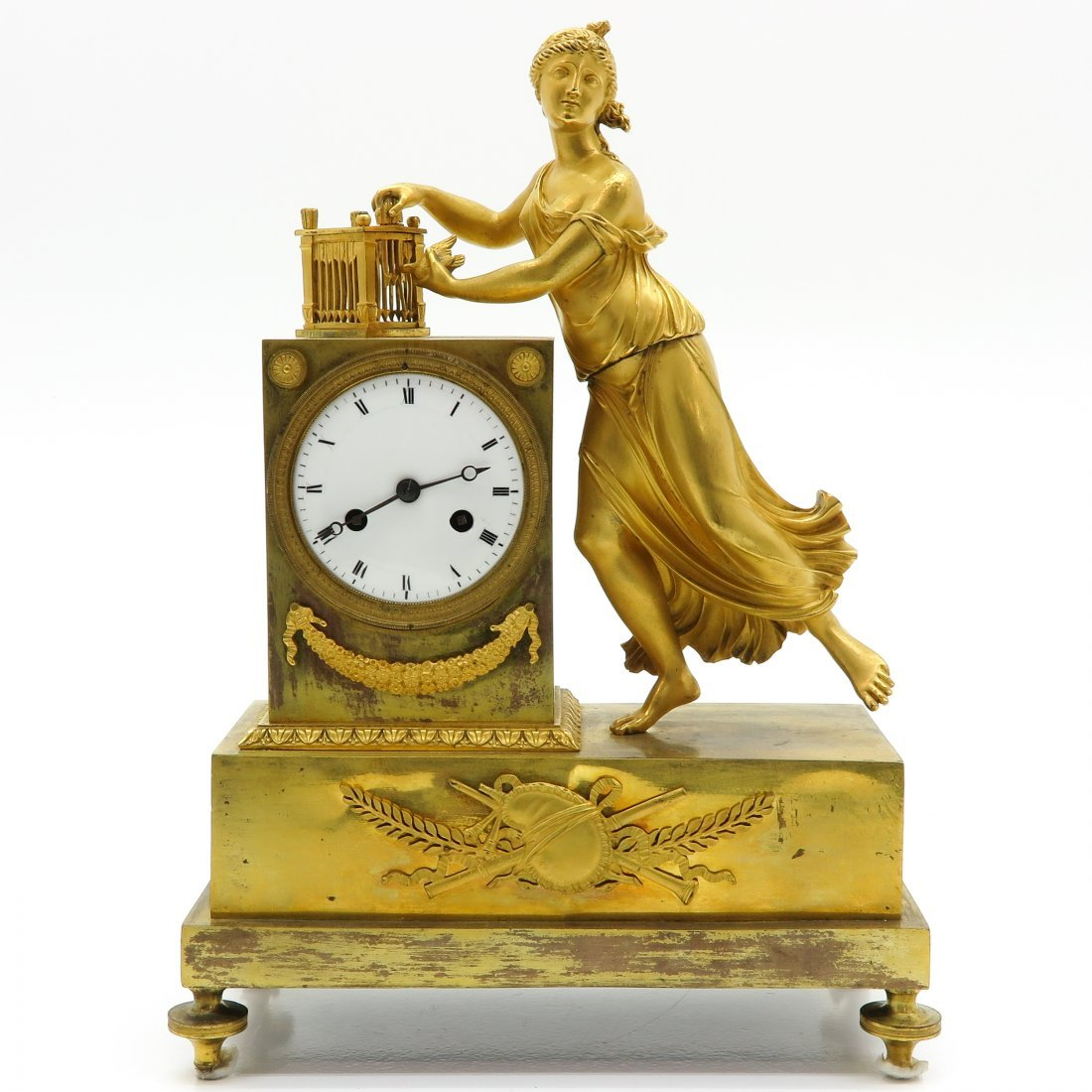 French Empire Period Gilt Bronze Clock