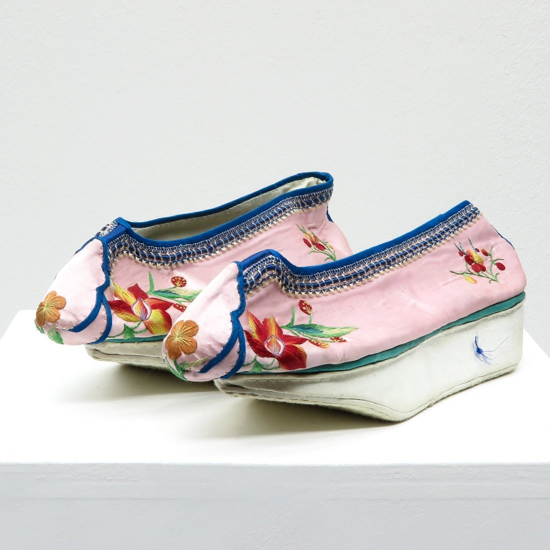 Pair of Embroidered Chinese Silk Shoes