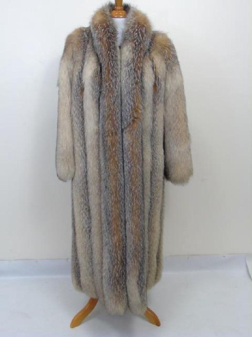 Custom Made Silver Fox Silk Lined Ladies Fur Coat