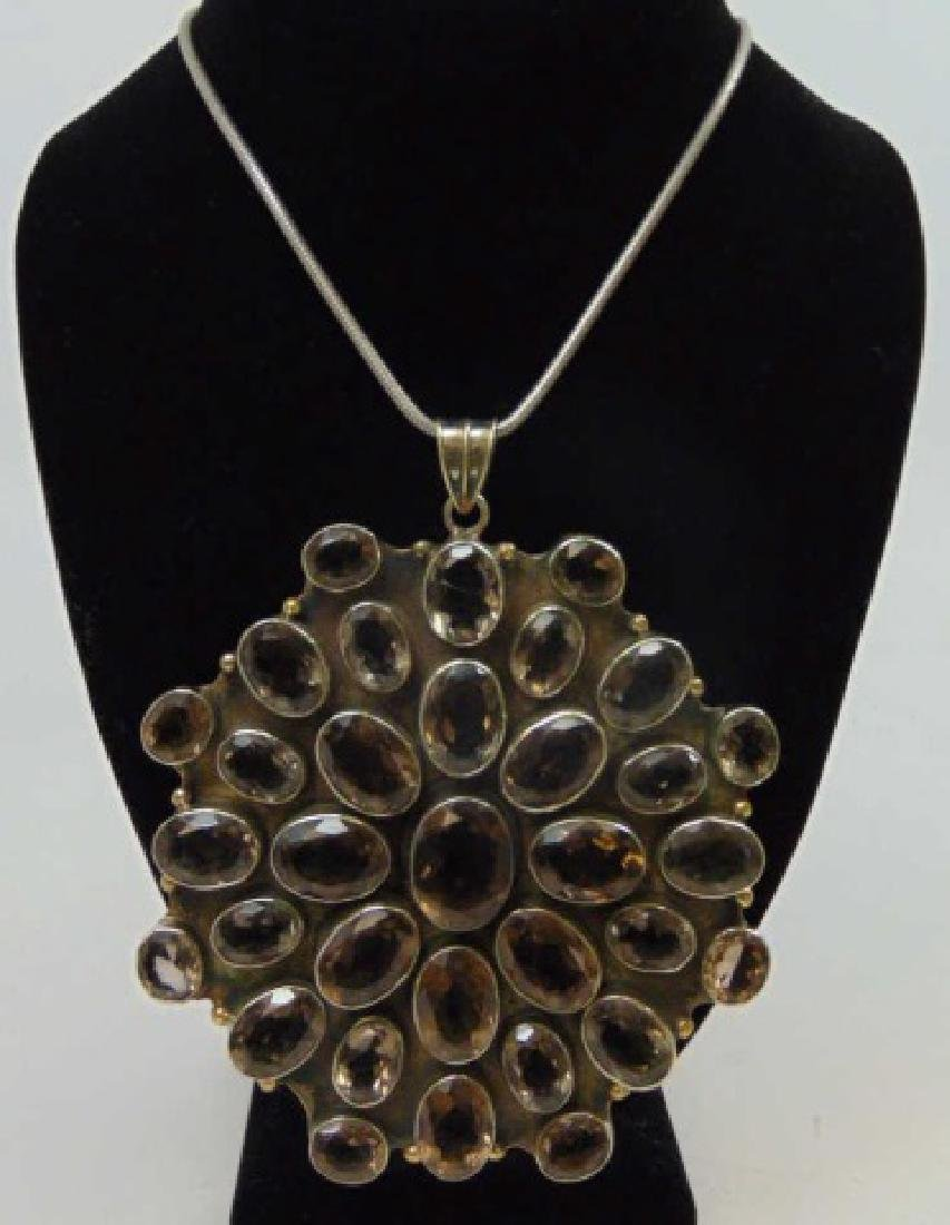 Very Large Smoky Topaz Necklace Pendant on Chain