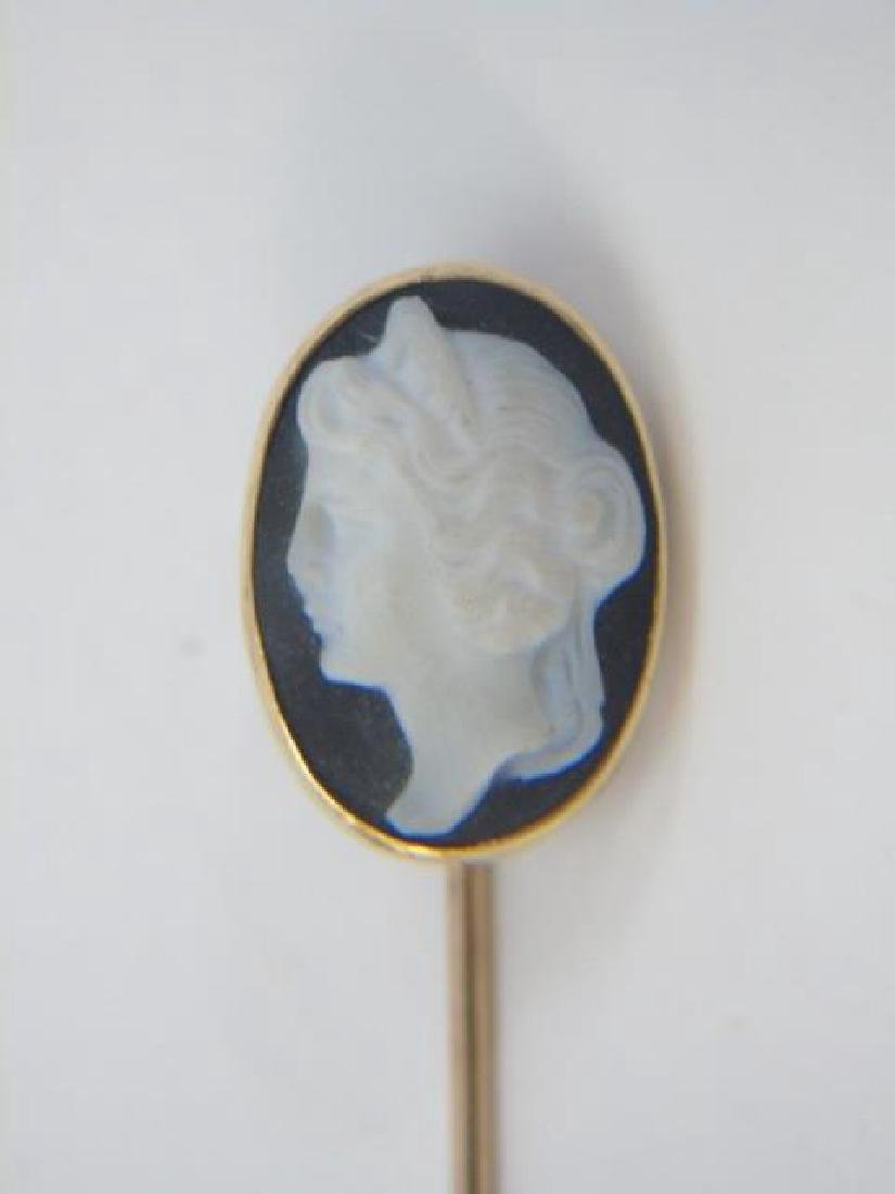 Antique Yellow Gold Carved Cameo Stick Pin
