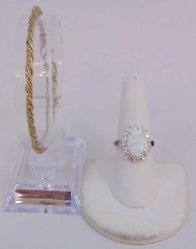 Sterling Silver Cocktail Ring & Vermeil Bracelet