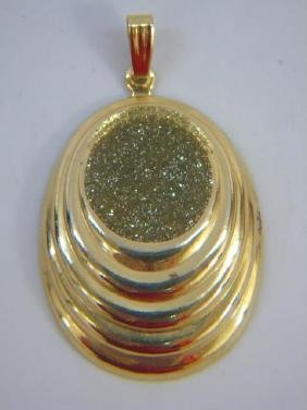 Estate Retro Yellow Gold & Enamel Pendant