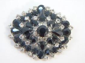 Very Large Vintage Rhinestone Crystal Brooch