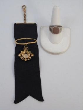 Antique Victorian Gold Watch Fob & Sterling Ring