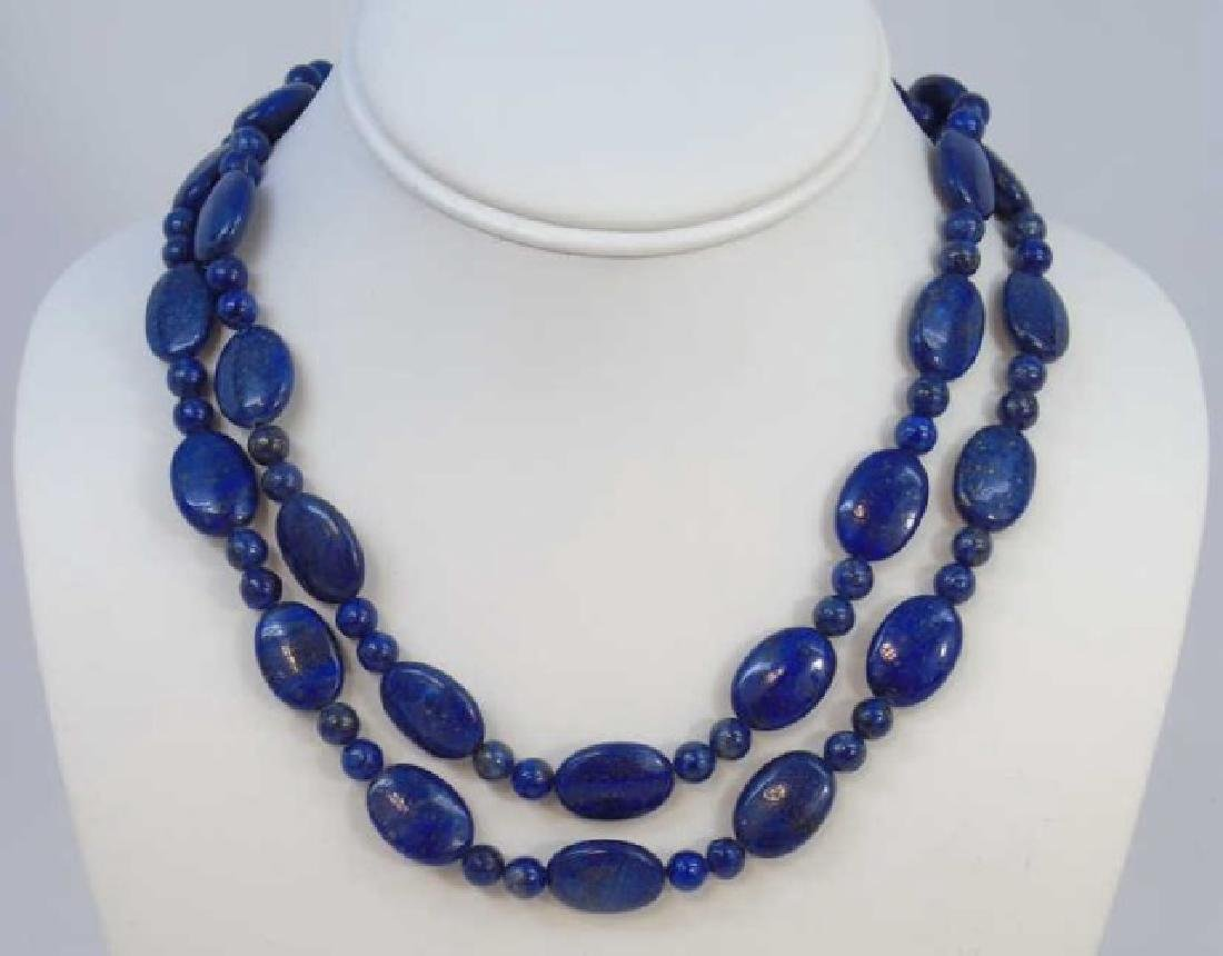 Pair Carved Lapis Lazuli Bead Necklace Strands