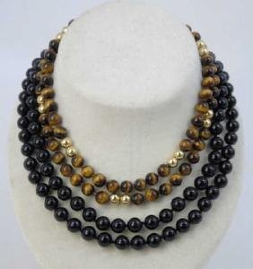 Estate Gold Onyx & Cats Eye Beaded Necklaces