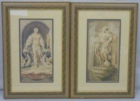 Pair of Framed Prints of Classic Marble Statuary