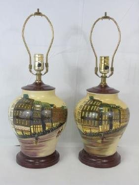 Pair of Hand Painted English Porcelain Lamps