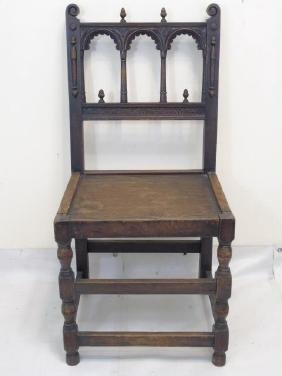 Antique Carved Wood Throne Style Gothic Armchair