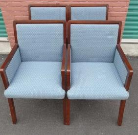 Contemporary Upholstered Dark Wood Parsons Chairs