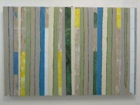 Large Textured 'Strips' Collage on Wood