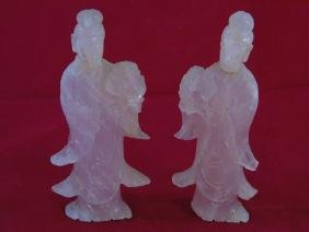 Pair of Antique Rose Quartz Chinese Figurines