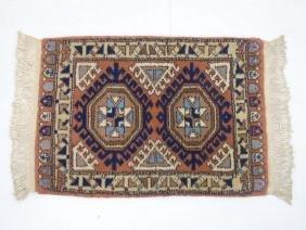 Iranian Design Throw Rug - Coral, Tan, Blues