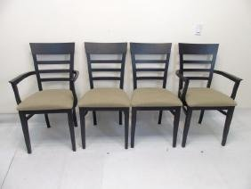 Four Black Painted Dining Chairs w Linen Seats