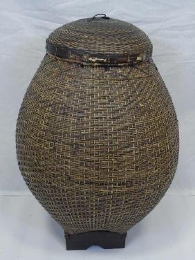 Large Vintage Asian Decorative Basket w/ Top