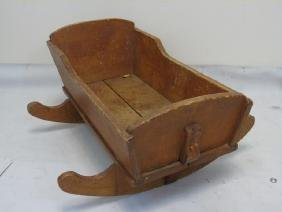 Antique Early American Carved Pine Cradle