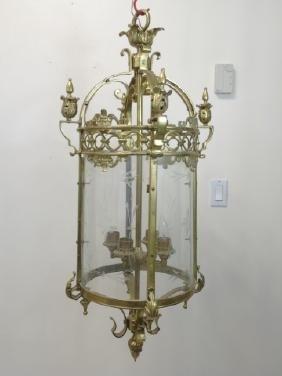 Vintage Brass & Glass Panel Lantern Chandelier