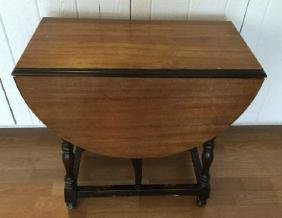 Antique Early 20th C Drop Leaf Gateleg End Table