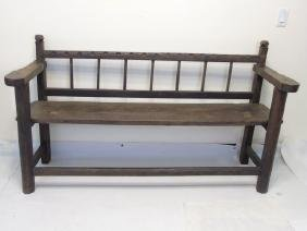 Country American Style Carved Wood Settee / Bench