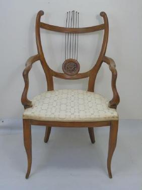 Vintage Carved Frame Lyre Back Armchair