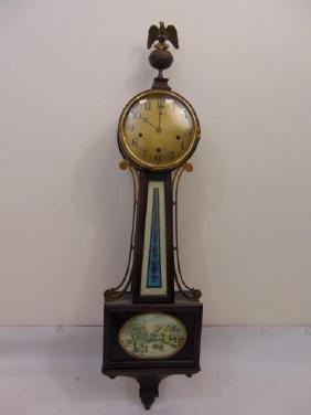 Vintage American Banjo Clock w Reverse Painting