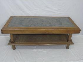 Vintage Carved Wood Chinese Motif Coffee Table