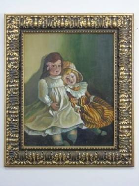 Vintage Framed Oil Painting - Two Dolls on a Shelf