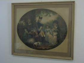 Antique Tinted Print of a Family in St. James Park