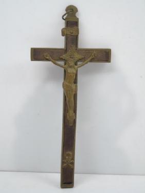 Antique Brass & Wood Crucifix