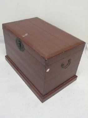 Contemporary Red Painted Chinese Style Trunk