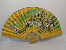 Large 20th C Chinese Painted Paper Floral Fan