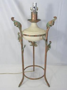 Metal & Faux Limestone Urn Mount Table Lamp
