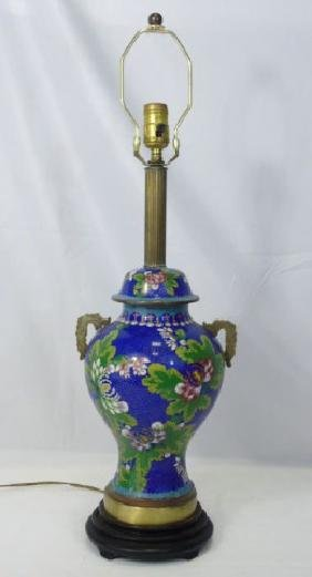 Large Chinese Cloisonne Vase Mount Table Lamp