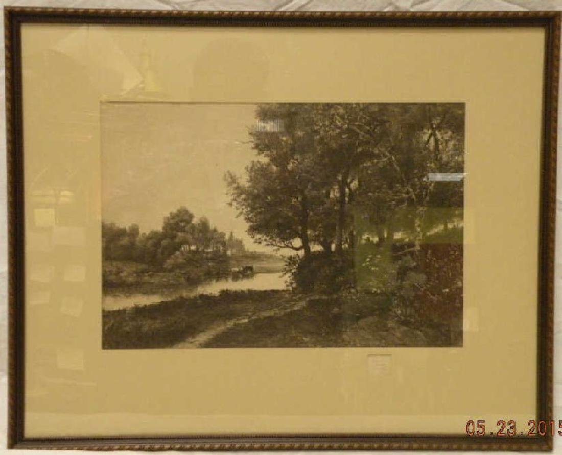 Thomas Moran Steel Etching of a Landscape