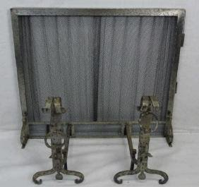 Contemporary Wrought Iron Gothic Fireplace Set