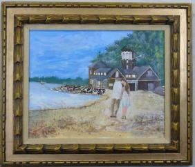 Impressionist Oil Painting Beach Scene w/ Couple