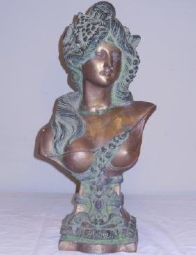 Mixed Metal Sculpture Bust of a Woman's