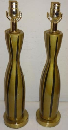 Pair/Mid-Century Gold Table Lamps w/Black Stripes