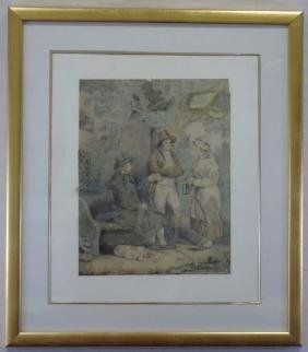 Antique English George Moreland Watercolor