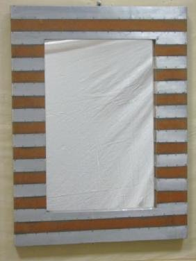 Silver / Copper Striped Painted Wood Mirror