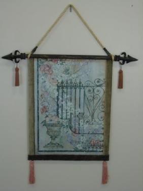 Contemporary Italian Style Tapestry w Garden Scene